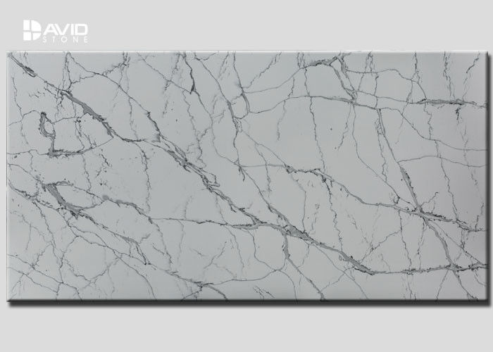 Grey White Color Quartz Stone Slab SGS Passed For Kitchen Countertop