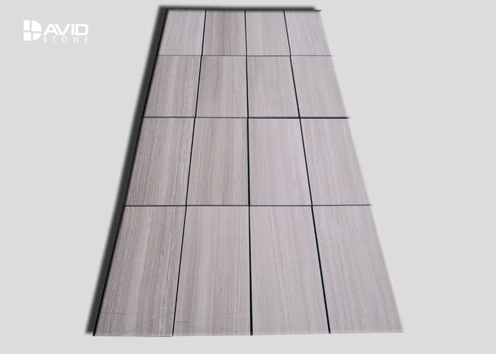 White Wood Grain Polished Marble Wall Tile For Bathroom / Fireplace
