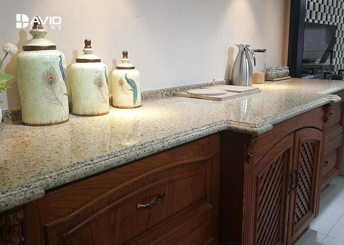 Beige Sparkle Quartz Worktops Glossy Polished Ogee Edge Scratch Resistant